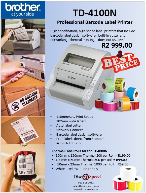 Brother TD4100N Thermal Label printer - Epson and Brother