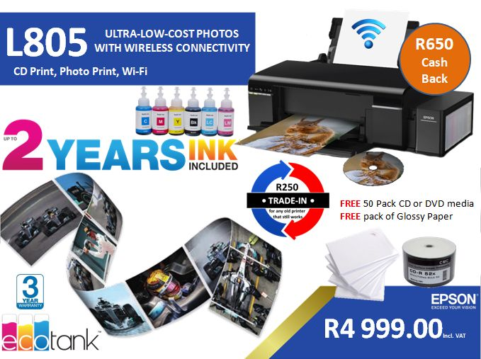 L805 WiFi and CD Print with Ink Tank System - CD DVD USB